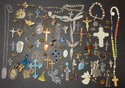 Vtg To Now Religious Christian Catholic Cross Rosary Charm Medal Jewelry Lot