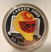 2009 Goalie Mask 20 Sterling Silver Coloured Coin Calgary Flames Rcm Coin