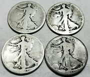 4 Walking Liberty Half Dollars 1920-s, 1923-s, 19xx-s, And 1937-d 90 Silver