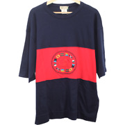 R199 Vintage Logo Nation Flag Tee Shirt Made In Italy Red Black Menand039s Xl