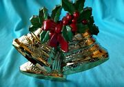 Vintage Burwood Christmas Bells And Holly Wall Hanging Decoration 3124 Usa