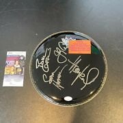 Huey Lewis And The News Signed Autographed Drumhead With Jsa Coa 4 Signatures