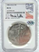 1986 American Silver Eagle Ngc Ms70 Mike Castle Ultra Cameo  R735
