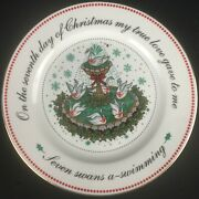 Vtg Salad Plate Domestications Twelve Days Of Christmas 7 Swans Swimming 7th Day