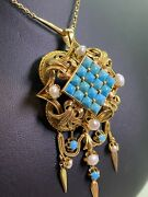 Magnificent Antique C1900 Turquoise Pearl 18k Gold Pendant / Brooch + Chain.