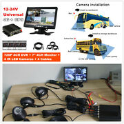 Car School Bus Truck 720p 4ch Dvr Video Recorder+7and039and039 Hd Monitor+4pcs Ccd Cameras