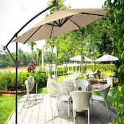 Umbrella 10ft Offset Hanging With 32 Pcs Led Lights Solar Powered Patio Outdoor