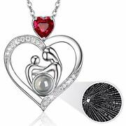 Sterling Silver Heart Pendant Necklace Mother Daughter Jewelry Red Garnet 20