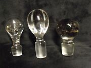 3 Vintage Large Heavy Blown Glass Crystal Decanter Stoppers