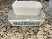 Vintage Pyrex Turquoise Amish Butterprint Refrigerator Set 2 Dishes Plus One Lid
