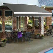 Awntech Retractable Awning Manual 14and039w X 10and039d X 10h Gray