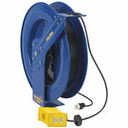 Safety Series Spring Rewind Power Cord Reel Quad Recept 100and039 Cord 12 Awg