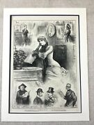 1882 Valentines Day Victorian Sweetheart Lady Girl Original Antique Print