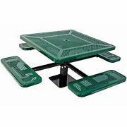 Single Pedestal 46 Square Table Surface Mount Perforated 78w X 78d Green