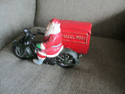 Christmas Santa Claus Christmas Parcel Delivery Cycle Cast Iron Motorcycle Toy