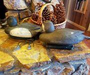 2 Vintage Patent Bluebill Duck Decoys Hen And Drake Hunting, Decoy W/weights
