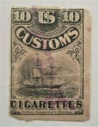1870's Sailing Ship Early Us Customs 10 Cigarettes Revenue Stamp