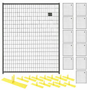 12 Panel Temporary Security Fence Kit Black Welded Wire