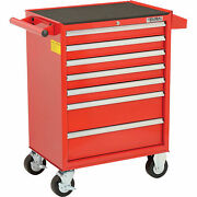 7 Drawer Roller Cabinet 26-3/8 X 18-1/8 X 37-13/16 Red