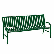 Slatted Metal Bench Green 6and039l