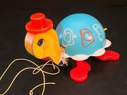 Vintage 1962 Fisher Price Tip Toe Turtle Pull Along Toy 773 Music Bell Working