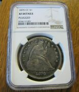 1870 Cc Carson City Seated Liberty Type Dollar Ngc Xf- Details Plugged