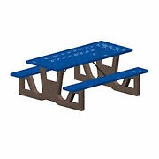 72 Concrete Table Frame W/steel Mesh Seat And Top Gray And Blue