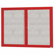 Aarco 2 Door Alum Framed Illum Enclosed Bulletin Board Red Powder Coat - 60w X
