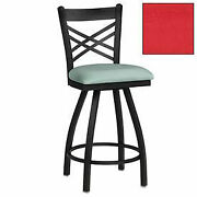 Swivel Bar Stool With Criss-cross Back, 17-1/2w X 17d X 45h, Red, Lot Of 2