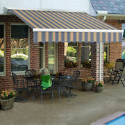 Awntech Right Motor/remote Retractable Awning 12and039w X 10and039d X 10h Dusty Blue/tan