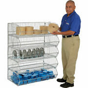 Stackable Wire Storage Rack Removable Bins 48x20x54
