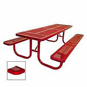 8and039 Extra Heavy Duty Picnic Table Perforated 96w X 70d Red