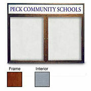 United Visual Products 48w X 36h 2-door Enclosed Gray Easy Tack Board With