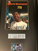 Hank Aaron Sports Illustrated, 59' Milwauke Braves Ticket, Game Used Jersey, A++