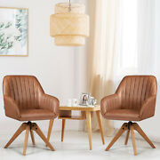 Giantex 2 Pcs Mid Century Swivel Accent Chair Pu Leather Vanity Armchair Brown