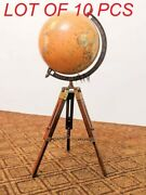 Vintage Brass Antique World Map Table Tripod Globe Ornament Christmas Gift