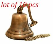 9and039 Vintage Brass Captain Ship Bell Maritime Wall Bracket Nautical Boat Decor