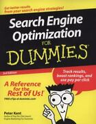 Search Engine Optimization For Dummies By Peter Kent 2008 Trade Paperback