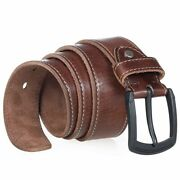 Mens Jeans Belts Genuine Leather Vintage Alloy Pin Buckle Solid Waist Straps