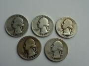 1935, 1936,1942,1943 And 1945 Lot Of Five Silver Washington Quarters