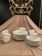 Vintage Shelley Gilt White Bone China 8 Cups And Saucers W/12 8 Dessert Plates