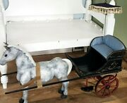 Large Miniature Horse Anddrawn Carriage Sulky Wood Buggy For Antique Dolls Vtg Toy