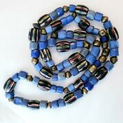 Early Russian Blue Bronze And Venetian 36 Strand Antique African Trade Beads