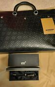 Leather Messenger Briefcase 100 Authentic With Mont Blanc Pen