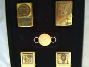Zippo Gift Set Ww2 4 Lighters And Keychain With Emblem Limited Edition