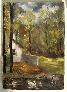 Painting Oil Picture Landscape Canvas Home At The Lake Art Landscape Swan Nature