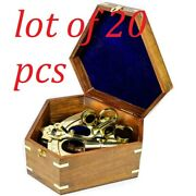 Nautical Handcrafted Solid Brass Antique Polished 8 Sextant With Wooden Box