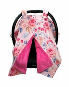 Dear Baby Gear Deluxe Baby Car Seat Canopy Cover Vintage Roses With Blue Acc...