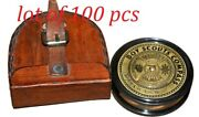 Vintage Brass Compass 2 Boy Scouts Nautical Calendar Compass With Leather Case