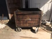 Wood Iron Authentic Antique Factory Industrial Cart